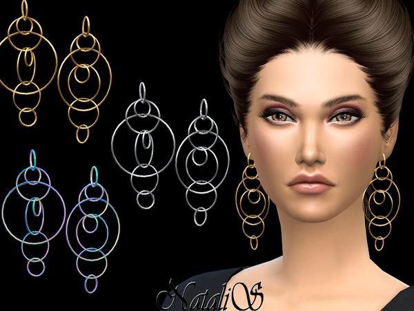 Sims 4 Long multiple hoops earrings by NataliS at TSR