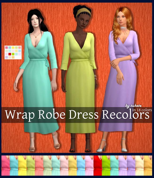 Wrap Robe Dress Recolors at Tukete image 1071 Sims 4 Updates