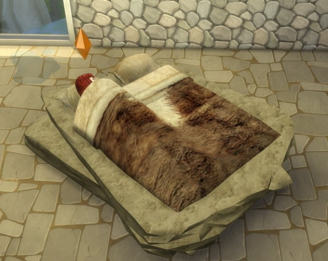 Stone Age Bed By Abuk0 By Biguglyhag At Simsworkshop