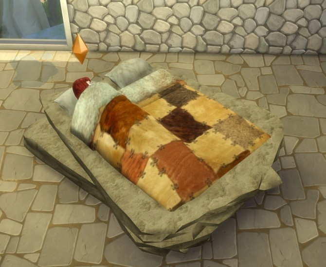 Sims 4 Stone Age Bed by abuk0 by BigUglyHag at SimsWorkshop