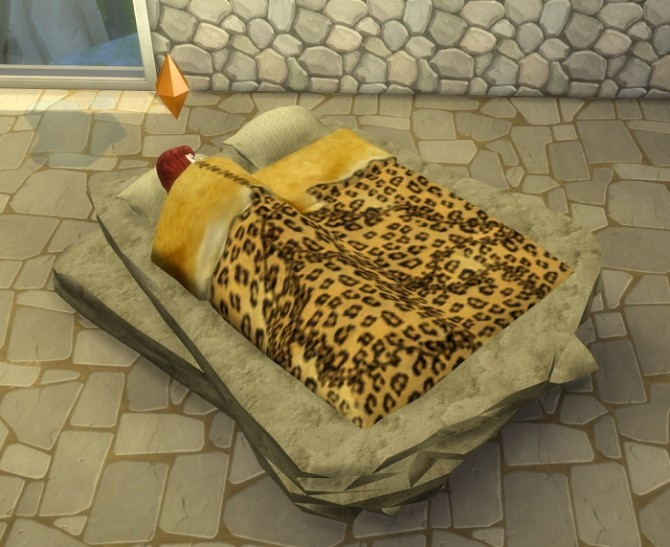 Stone Age Bed by abuk0 by BigUglyHag at SimsWorkshop image 11111 670x547 Sims 4 Updates