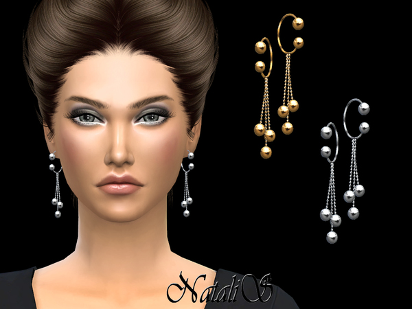 Hoop earrings with balls pendant by NataliS at TSR image 1126 Sims 4 Updates