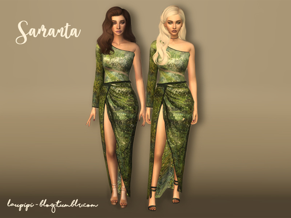 Sims 4 Samanta dress by laupipi at TSR