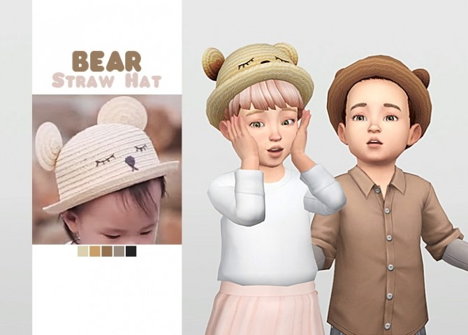 Sims 4 Bear Straw Hat at Waekey