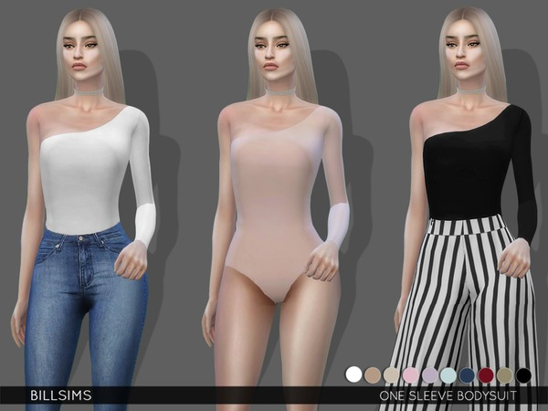 Sims 4 One Sleeve Bodysuit by Bill Sims at TSR