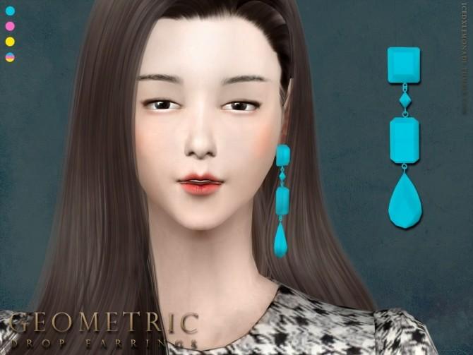 Sims 4 Geometric Drop Earrings N01 at iCedxLemonAde