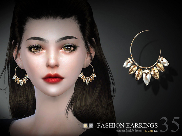 Earrings N35 by S Club LL at TSR image 1520 Sims 4 Updates
