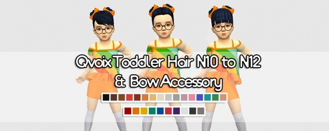 Sims 4 Hair N10 to N12 & Bow Accessory at qvoix – escaping reality