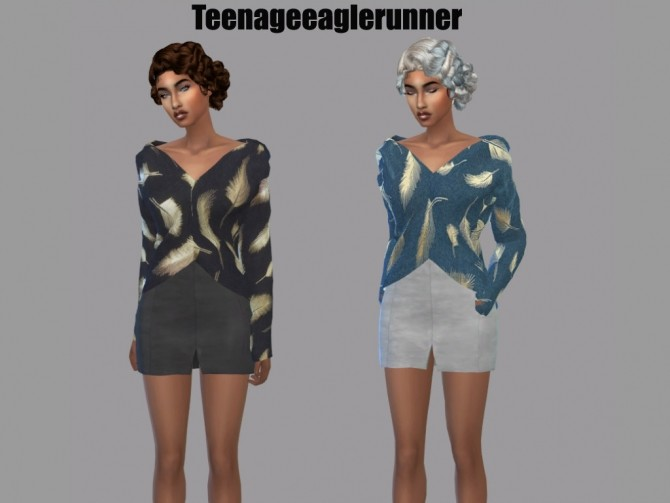 Sims 4 Off Shoulder Shirt Mari Recolor at Teenageeaglerunner