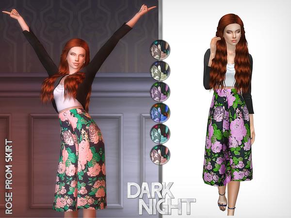 Sims 4 Rose Prom Skirt by DarkNighTt at TSR