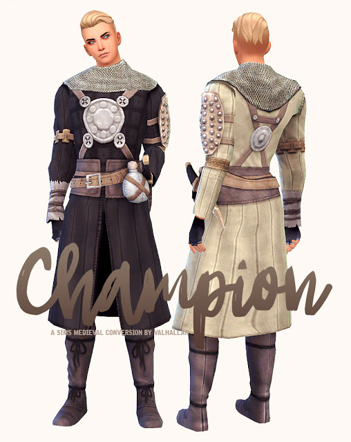Sims 4 Champion The Sims Medieval outfit conversion at Valhallan