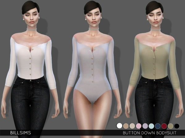 Sims 4 Button Down Bodysuit by Bill Sims at TSR