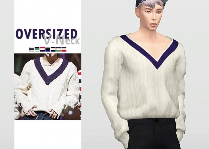 Oversized V Neck sweater at Waekey image 1882 670x479 Sims 4 Updates