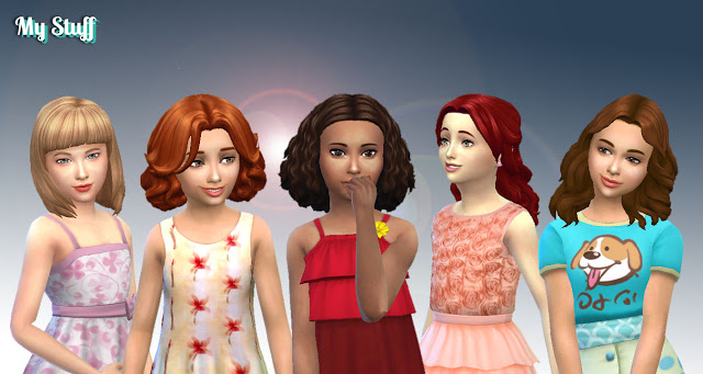 Girls Medium Hair Pack 6 at My Stuff image 1952 Sims 4 Updates