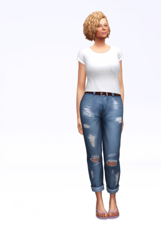 Cropped roll up jeans F (18 colors) at Rusty Nail image 1973 670x977 Sims 4 Updates