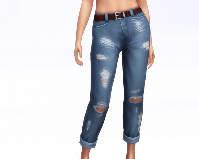 Sims 4 Cropped roll up jeans F (18 colors) at Rusty Nail