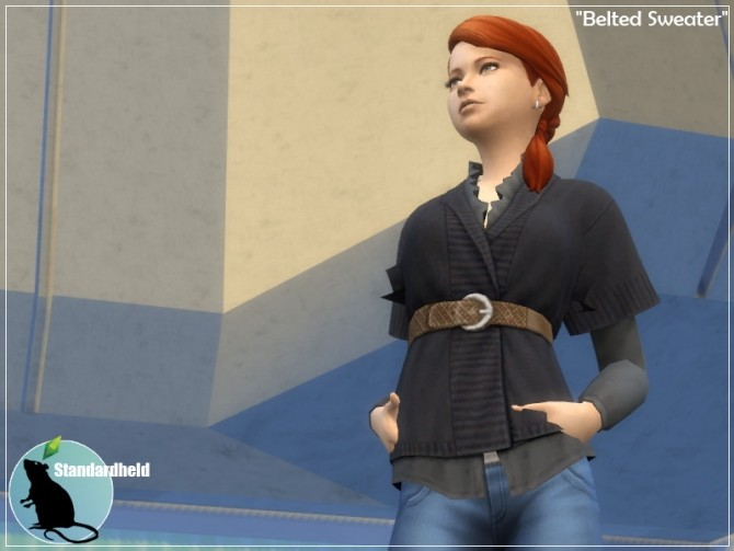 Sims 4 Recolor of elliesimples belted sweater by Standardheld at SimsWorkshop