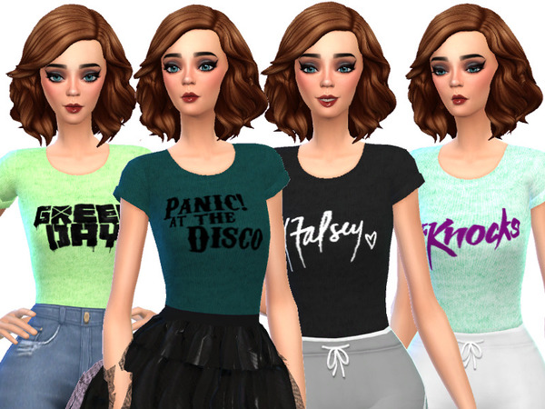 Band Tee Shirts Pack Three by Wicked Kittie at TSR image 2019 Sims 4 Updates