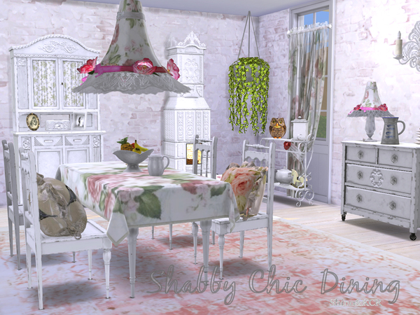 Shabby Chic Dining by ShinoKCR at TSR image 212 Sims 4 Updates