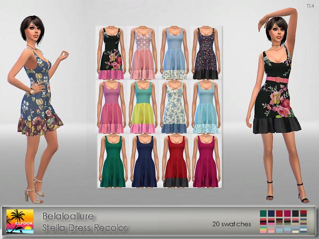 Sims 4 Belaloallure Stella Dress Recolor at Elfdor Sims