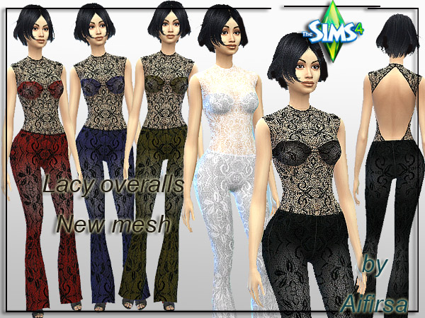 Sims 4 Lacy overalls by Aifirsa at Lady Venera