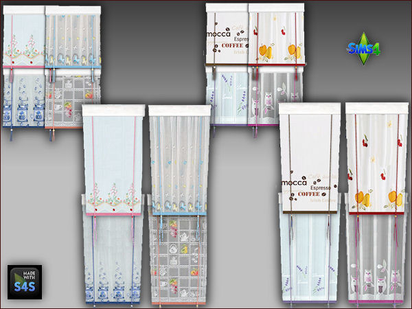 8 kitchen curtains in 2 sizes by Mabra at Arte Della Vita image 2162 Sims 4 Updates