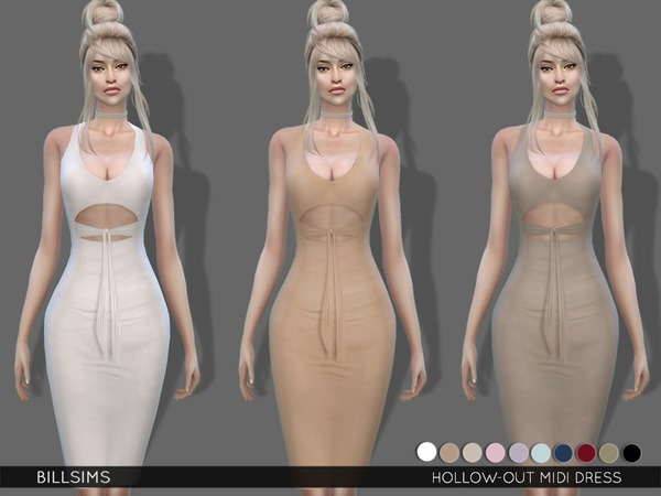 Hollow out Midi Dress by Bill Sims at TSR image 2317 Sims 4 Updates