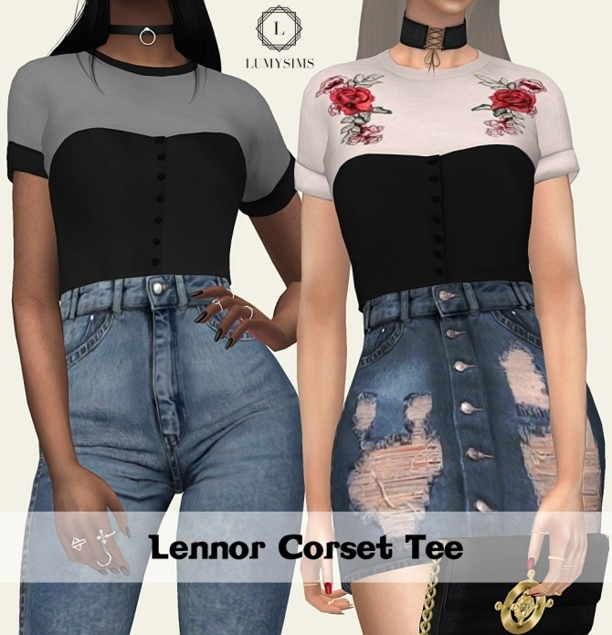 Lennor Corset Tee At Lumy Sims 187 Sims 4 Updates