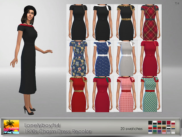 Sims 4 Lonelyboyts4 1930s Charm Dress Recolor at Elfdor Sims