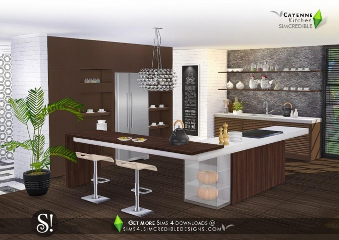 Cayenne kitchen at simcredible designs 4 sims 4 updates for Kitchen ideas sims 4