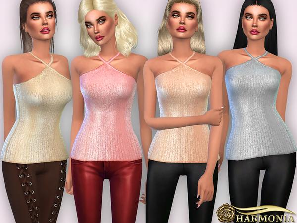 V Halter Neckline Textured Metallic Top by Harmonia at TSR image 239 Sims 4 Updates