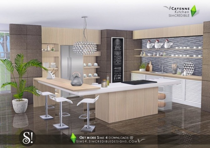 Cayenne kitchen at SIMcredible! Designs 4 image 2392 670x474 Sims 4 Updates