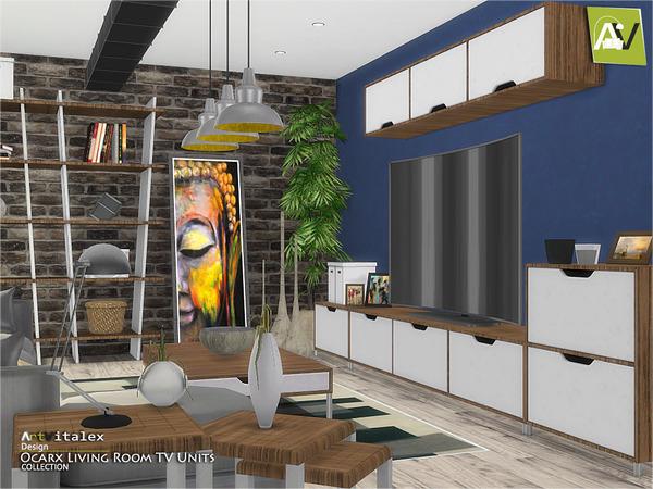 Ocarx Living Room TV Units by ArtVitalex at TSR image 2413 Sims 4 Updates