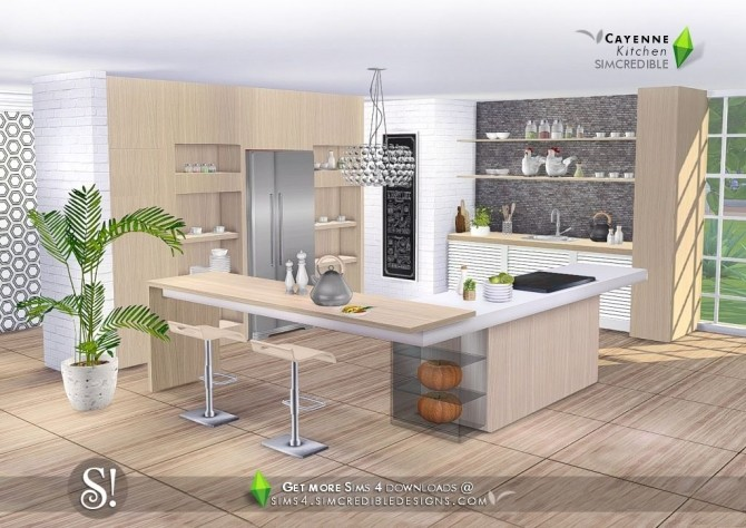 Cayenne kitchen at SIMcredible! Designs 4 image 2452 670x474 Sims 4 Updates