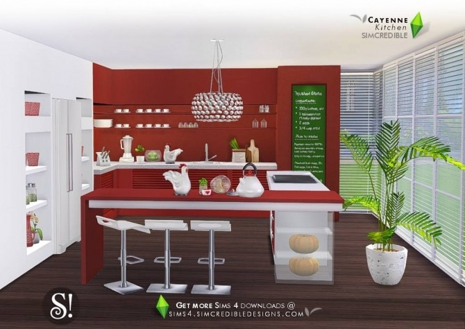 Cayenne kitchen at SIMcredible! Designs 4 image 2472 670x474 Sims 4 Updates