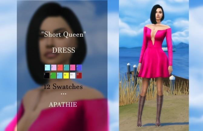 Sims 4 Short Queen dress at Apathie