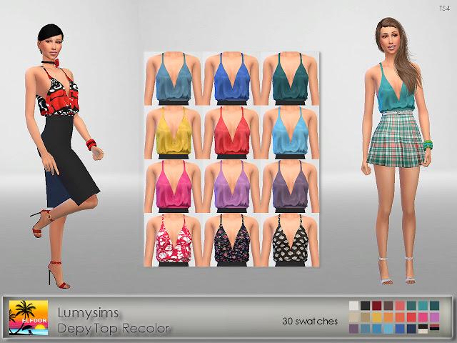 Sims 4 Lumysims Depy Top Recolor at Elfdor Sims