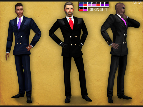 Sims 4 Dress Suit by Bruxel at TSR