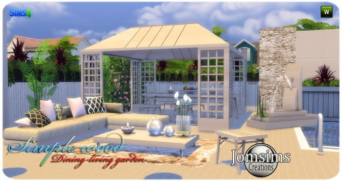 Simple wood dining living garden at Jomsims Creations image 2821 670x355 Sims 4 Updates