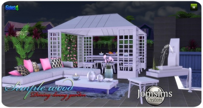 Simple wood dining living garden at Jomsims Creations image 2831 670x355 Sims 4 Updates