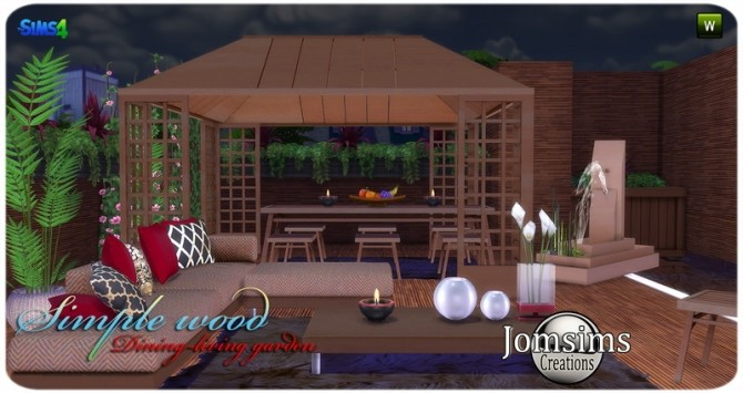 Sims 4 Simple wood dining living garden at Jomsims Creations