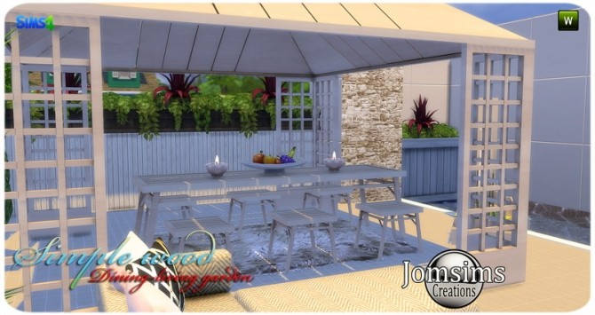 Simple wood dining living garden at Jomsims Creations image 2891 670x355 Sims 4 Updates