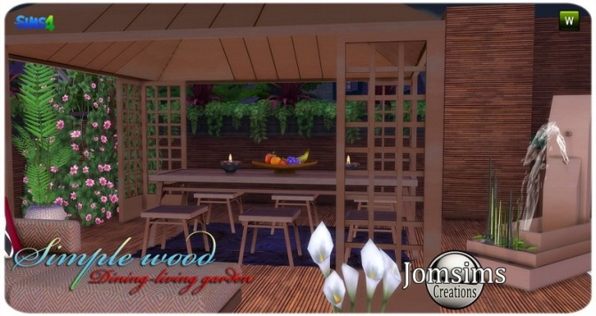 Simple wood dining living garden at Jomsims Creations image 2901 670x355 Sims 4 Updates