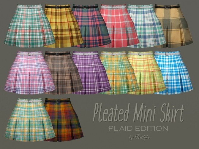 Sims 4 Pleated Mini Skirt PLAID EDITION at Trillyke