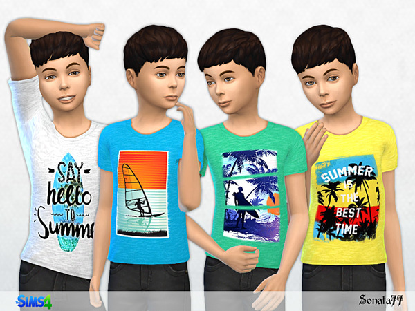 Sims 4 T shirt for boys with summer prints 21 by Sonata77 at TSR
