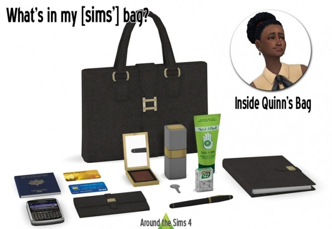 Sims 4 Whats in my bag? set by Sandy at Around the Sims 4