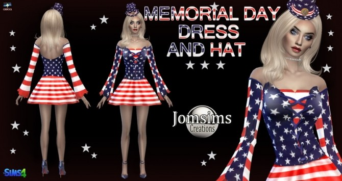 Memorial day dress at Jomsims Creations image 301 670x355 Sims 4 Updates
