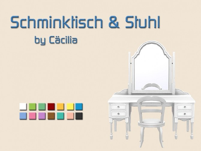 Dressing table & chair by Cäcilia at Akisima image 305 670x503 Sims 4 Updates