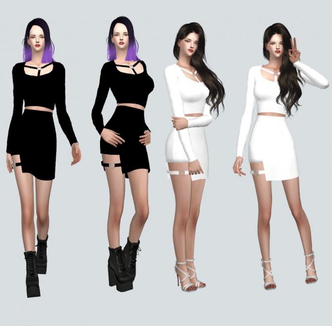 Sims 4 black dress korean