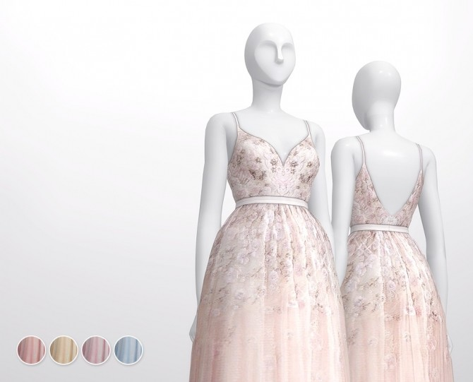 Soft pink embellished tulle gown at Rusty Nail image 3181 670x541 Sims 4 Updates